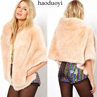 Shallow Pink Faux Rabbit Fur Cloak Outerwear Bat Sleeves Rabbit Fur Coat Short Desgin Casual Winter Jacket Women,Free Shipping