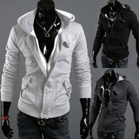 Spring Hooded cardigan  Casual brushed sweater  Men's jackets  Free shipping
