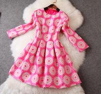 Memory 2014 women's quality jacquard three quarter sleeve one-piece dress