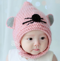 Retail New Fashion cute fairy children crochet cap autumn/winter unisex knitted hats ear protector caps for 1-4T