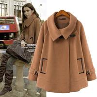 2014 Winter Loose Plus Size Women's Cloak Type Woolen Jacket, Trendy Cape Cloak Wool Overcoat