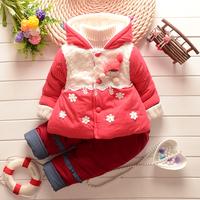 2014 winter baby girl clothing set  children coats dot thick clothing set coat + pants