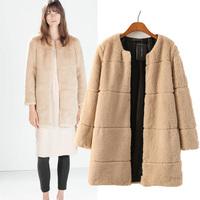 2014 Fashion O-neck Medium-long Female Faux Cashmere Jacket, Winter Women's Casual Overcoat