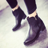 2014 autumn martin boots female fashion flat heel round toe casual shoes women's side zipper boots motorcycle boots women's