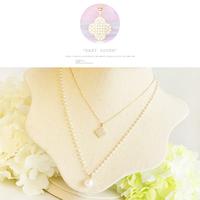 Elegant pearl zircon necklace long design multi-layer necklace four leaf clover chain fashion accessories female