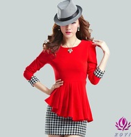 NEW ARRIVAL promotion!! Women's fake two-piece  dress long-sleeve o-neck elegant a-line skirt plus size