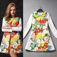 Luxury Brand Designer Coat Women Runway Fashion Long Sleeve Vintage  Flower Print Dobby Long Trench Coat