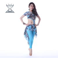 Belly dance trousers set costume lace performance wear print rhinestones qc2178