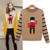 4605 2014 autumn and winter fashion long-sleeve stripe knitted sweater basic shirt
