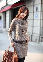 21741 turtleneck yarn one-piece dress sweater women's clothing