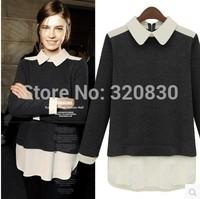 Plus size clothing 2014 fashion autumn loose long-sleeve T-shirt medium-long basic shirt