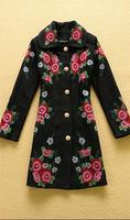 2014 Winter Runway Fashion Coat Woman's Long Sleeves Peter Pan Collar Pink Rose Flower Embroidery Woolen Blends Coat