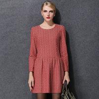 Free Shipping Women Dresses Winter New Fashion O-neck Long Sleeve Knee-length Geometry Party Dress Plus Size XL 2XL 3XL 4XL 5XL