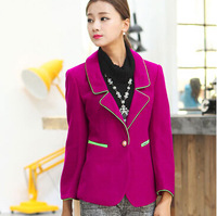 Spring and autumn women's plus size 4xl rose color block threaded rod one button slim woolen blazer