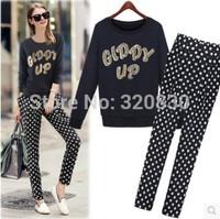 Plus size clothing 2014 set fashion mm long-sleeve sports sweatshirt loose polka dot harem pants