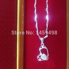 S990 fine silver love shaped fashion pendant fashion decoration rhinestone necklace chain(China (Mainland))
