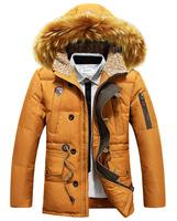 2014 winter male coat medium-long down large fur collar down coat male thick