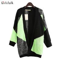 2014 fashion medium-long colorant match loose straight female sweatercoat