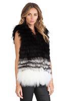 Slim Fashion Fur Vest Faux Fur Coat Back Front Patchwork Gradient Color Fur Vest Sleeveless Black-White Gradual Color Women Coat