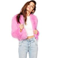 Lively Style Faux Fur Fox Fur Coat Short Design Luxury Pink Long-Sleeve Collarless Fur Coat Winter Coat Women Plus Size XS-XXL