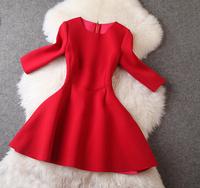 New arrival 2014 women's three quarter sleeve expansion bottom slim one-piece dress