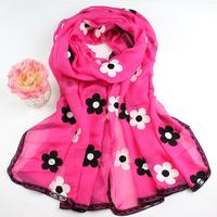 new fashion women embroidered chiffon scarfs ,flower long design shawls  2062 free shipping