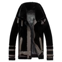 2014 New 100% Genuine Leather fashion luxury Men Jacket coats wool Fur Double-layer keep warm men's leather