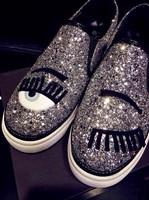 2014 fashion round toe flat heel flat skateboarding shoes eyelash embroidered paillette high shoes