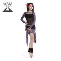 Belly dance set milk silk print leopard print skirt bilateral leotard 2228