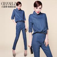 2014 autumn fashion turn-down collar zipper two ways distrressed denim jumpsuit