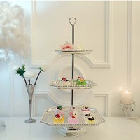 3123 3 tieyi square cake pan silver plated beads plate dessert display rack dessert plate West plate