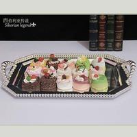 8.5 3124 tieyi fashion beads square pallet fruit plate cake pan dessert plate