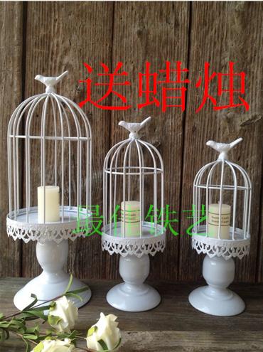 Ferro forjado gaiola de pássaro branco velas decoração de gaiolas decorativas do pássaro casamentos gaiolas decorativas do pássaro(China (Mainland))