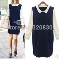 2014 autumn fashion europe one-piece dress plus size clothing long-sleeve shirt basic cotton