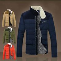 2014 men's winter clothing outerwear slim cotton-padded jacket male  plus velvet thickening wadded jacket