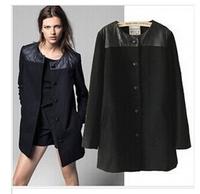 Fashion women's woolen outerwear luxury elegant medium-long single breasted wool coat