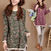 2014 autumn plus size loose women's  fluid long-sleeve dress autumn and winter dress casual dress