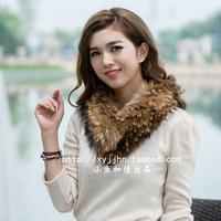 Promotion ! 100% Raccoon fur collar Winter Warm Women's can sew Hat Fur collar scarf