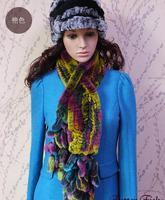 2014 Women's Real rex rabbit hair scarf knitted fur muffler scarf peacock tail tassel long scarf