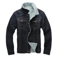 2014 Winter Wool Collar Thick Denim Jacket Warm Jean Jacket Cowboy Clothing Cotton-padded Denim Coat Color Dark Blue