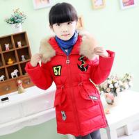 High Quality 2014 Winter Children Girls Kids Thick Warm Fur Collar Long Design Hooded Down Jacket Fashion Parkas Coat Outerwear