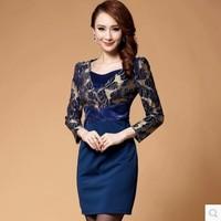 Dora 2014 autumn lace one-piece dress high quality ladies elegant ol step  patchwork long-sleeve
