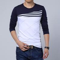 Free Shipping mens t shirts fashion 2014 fall new spell color round neck long-sleeved T-shirt men 3XL 4XL 5XL