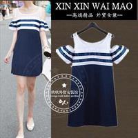 Women's straight loose one-piece dress stripe casual a-line skirt plus size strapless one-piece dress