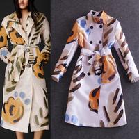 Europe Runway Famous Brands Autumn Long Trench Coat Women's Long Sleeve Double Breasted Doodle Print Adjustalble Waist Coat