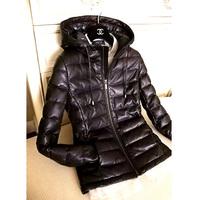 New 2014 Ladies Geniune Sheepskin Leather Jacket Slim with a Hood Down Coat down Females Winter Clothing XXXL Black W1310121408