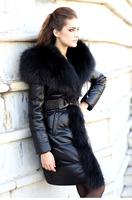 Luxury 2014 Ladies Large National Real Fur Genuine Sheepskin Leather Down coat Jacket for Women Long Sleeve Black Plus Size XXL