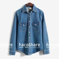 Fashion vintage double pocket denim shirt female long-sleeve cardigan slim short jacket autumn thick
