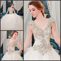 2014 uxury super flash diamond crystal shoulders braces luxury trailing bind take marriage wedding dress bride wedding