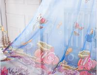 Child fish cartoon girl curtain window screening blue sea window screening sheer curtain tulle curtain